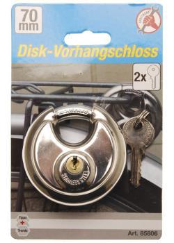 Disk-Vorhängeschloss - aus hochfestem Stahl - 70 mm