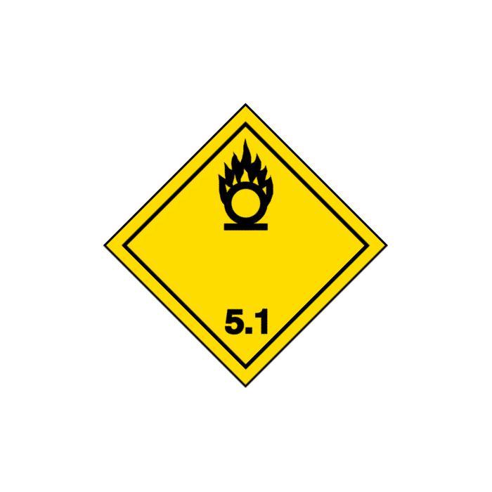 """Gefahrgutzeichen """"Entzündend (oxidierend) wirkende Stoffe-Klasse 5.1"""" - Seitenlä"""