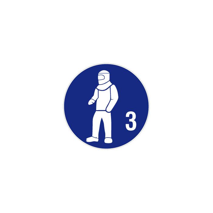 "Påbudsskylt ""använd skyddskläder 3"" - Ø 5-40 cm"