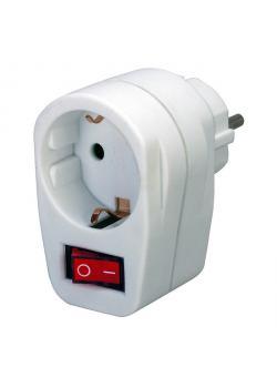Adapterstecker Schutzkontakt mit Schalter - weiß