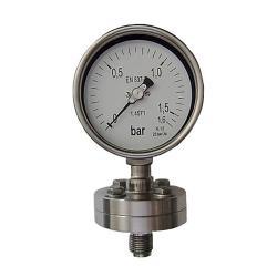 Manomètre à membrane - type: PLF-C-E F-NG 90 - avec construction à bride de 90 mm selon EN 837-3 - taille de boîtier 100