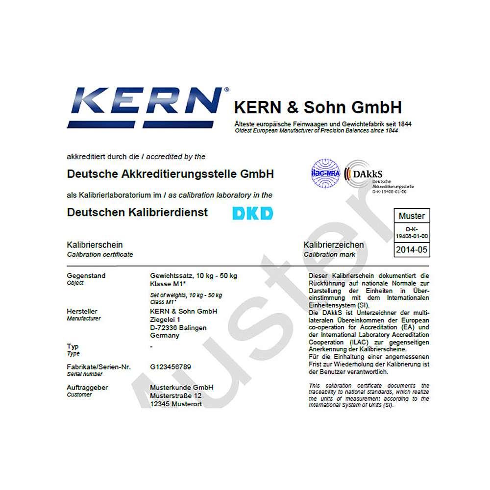 DAkkS-Kalibirerschein für Prüfgewicht E 2 - 1 g bis 50 kg - Kompakt- oder Knopfform- Edelstahl