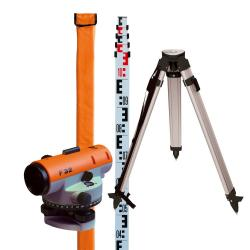 Nedo levels of the F-series - incl. Tripod and telescopic staff