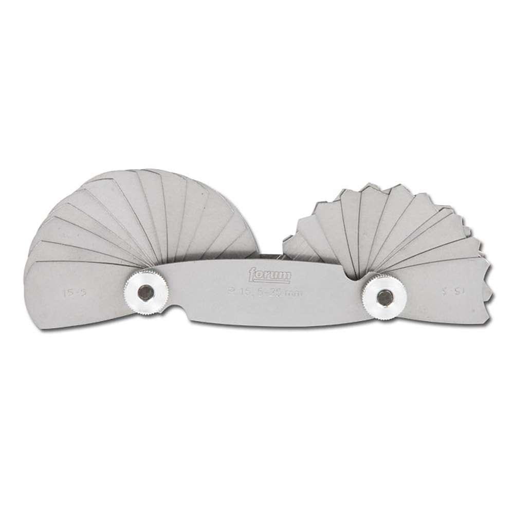 Radienschablone - Stahl - Radien 1 bis 25mm - 17 Blatt