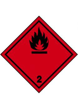 """Farligt gods skylt - """"brandfarliga gaser"""" - klass 2"""