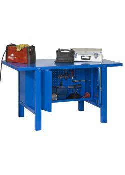 Workbench BT-6 Metal Locker - blå färg - med verktygsskåp och Pegboard