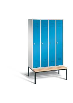 C+P Garderobenschrank Classic - mit Sitzbank - Stahl - hellblau - H 2090 x B 1190 x T 815 mm