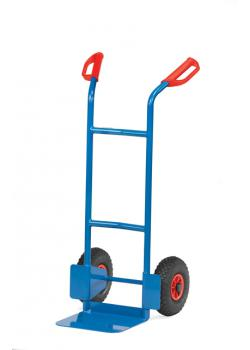 Steel pipe truck - carrying capacity 200 kg - blue RAL 5007 - Pneumatic tires