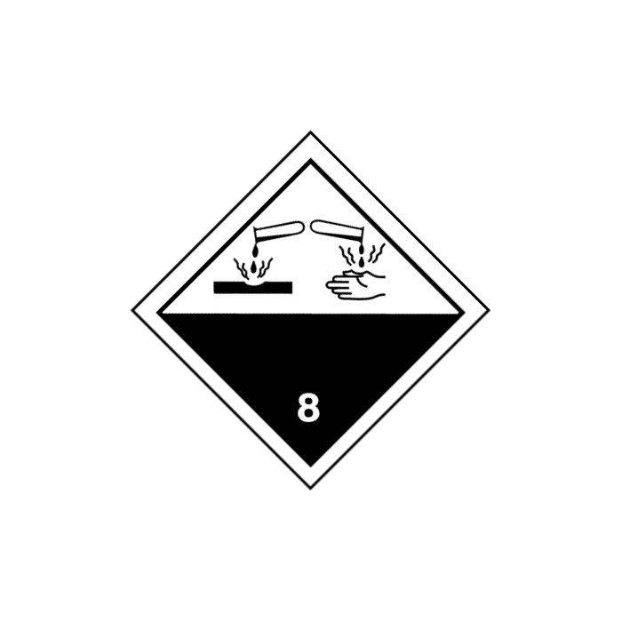 """Gefahrgutzeichen """"Ätzende Stoffe-Klasse 8"""" 5-40 cm Seitenlänge"""