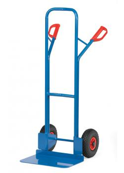 Tubular steel trolley - 300 kg - Height 1300 mm - wide blade - Solid rubber / pneumatic tires