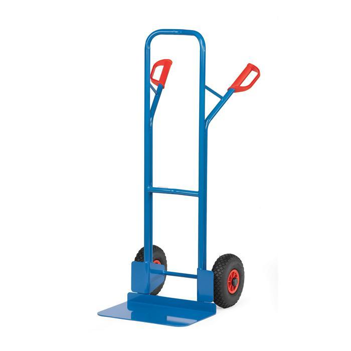 Stahlrohrkarre - 300 kg - Höhe 1300 mm - breite Schaufel - Vollgummi/Luftbereifung