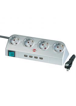 Desktop-Power mit Schalter und USB-Hub 2.0 - Silber - 4-fach - H05VV-F 3G1,5