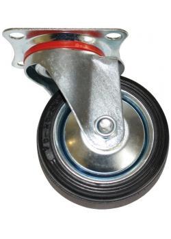 Lenkrolle - mit Anschraubplatte - Rad-Ø 75 mm - Bauhöhe 95 mm - Tragkraft 50 kg