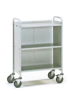 Office Cart - with 3 floors and 1 rear panel - 150 kg