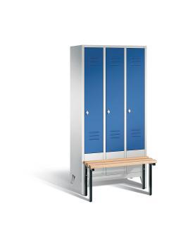 C+P Garderobenschrank Classic - mit Sitzbank - Stahl - blau - H 1850 x B 900 x T 500 mm