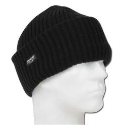 Stickad akrylmössa - svart / marinblå - THINSULATE