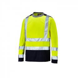 Warnschutz Langarmshirt - Dickies - zweifarbig - hochsichtbar - Größe L - gelb/marineblau