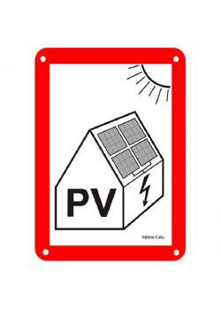 """Varningsskylt - """"varning för höga spänningar från solcellssystem"""""""