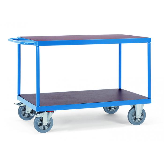 Table trolley - with 2 floors of wood - 1200 kg - Elastic solid rubber