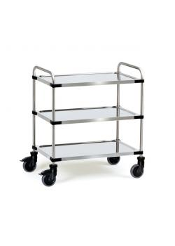 Stainless steel trolley - 150 kg - with tubular push handle and 3 shelves