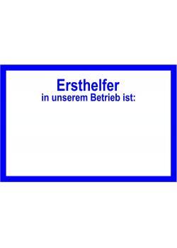 """Skylt på arbetsplatsen """"Ersthelfer"""" - 10x20cm/20x40cm"""
