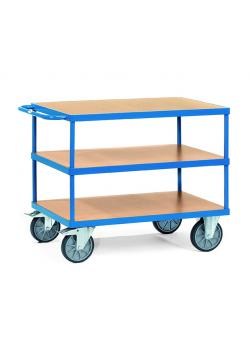 Table trolley - up to 600 kg - with 3 floors of wood