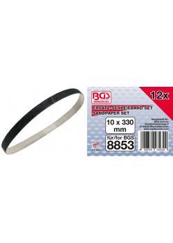 Schleifband - Größe 10 x 330 mm - für Druckluft-Bandschleifer - 12-tlg.