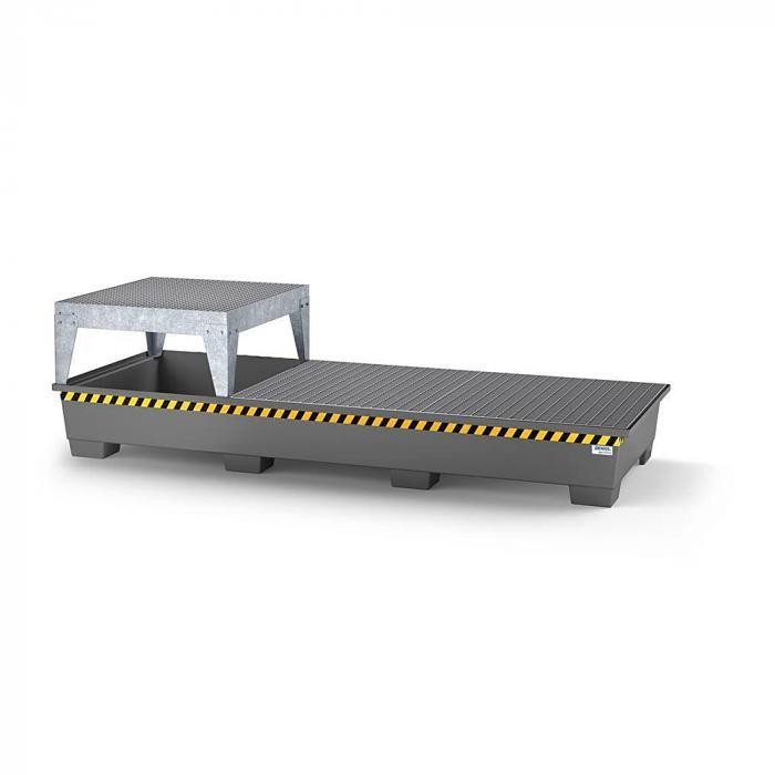 Auffangwanne pro-line - Stahl lackiert oder verzinkt - für 3 IBC - 1 Abfüllbock und 2 Gitterroste
