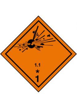 """Farligt gods skylt - """"explosiva ämnen och föremål"""" - klass 1"""