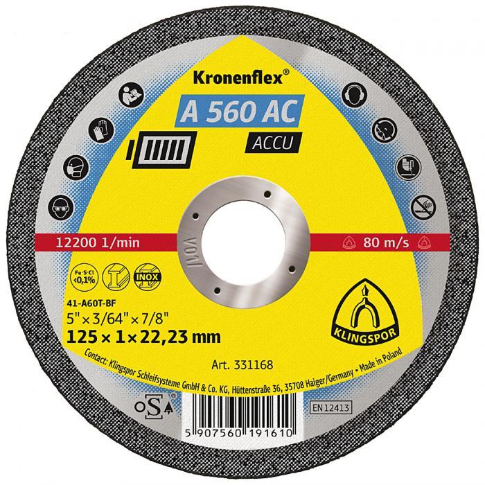 Trennscheibe A 560 AC - Durchmesser 115 bis 125 mm - Bohrung 22,23 mm - gerade