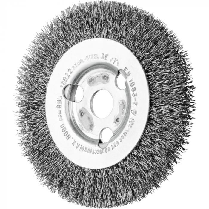 PFERD Rundbürste RBU - ungezopft - schmal - Stahldraht - Außen-ø 100 bis 250 mm - Besatzbreite 12 bis 20 mm - max. Bohrungs-ø 31,8 mm - Bo./Adapter 14,0 und 22,2 mm - Besatzmaterial-ø 0,15 bis 0,30 mm - VE 2 Stück - Prei