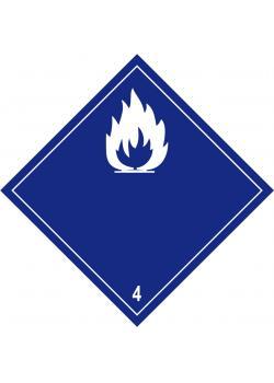 """Farligt gods - """"ämnet utvecklar brandfarlig gas vid kontakt med vatten"""" - sidolängd 5-40 cm"""