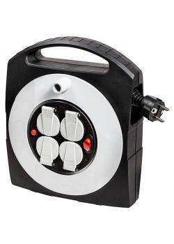 Kabelbox-S Primera-Line - schwarz/lichtgrau - 10 m - H05VV-F3G1.5 - Schalter 2-polig
