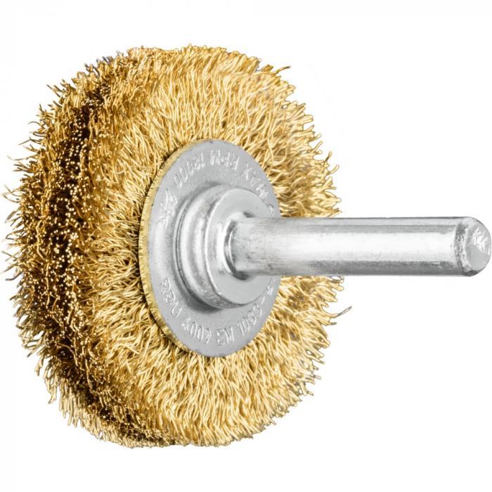 PFERD Rundbürste RBU mit Schaft - Messingdraht - ungezopft - Außen-ø 40 bis 80 mm - Besatzmaterial-ø 0,20 und 0,30 mm - VE 10 Stück - Preis per VE