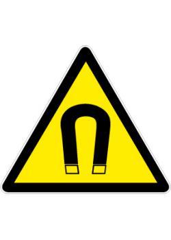 "Varningsskylt ""magnetfält"" - sidolängd 5-40 cm"