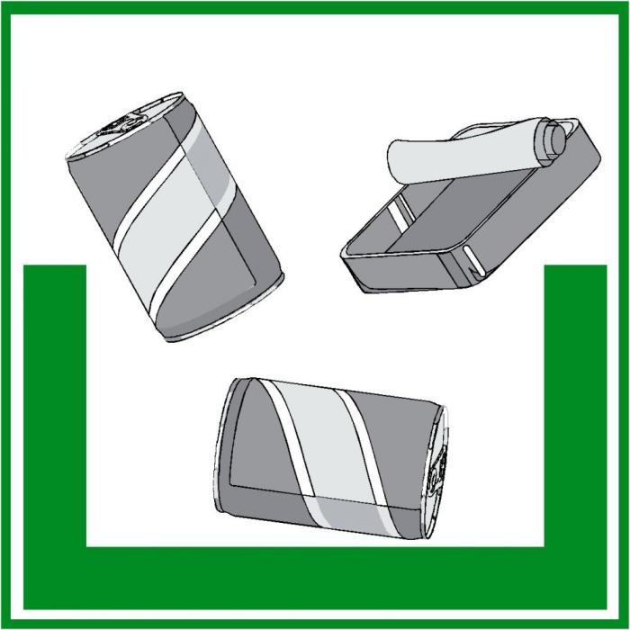 """Miljöskylt """"metallförpackningar"""" - sidolängd 5-40 cm"""
