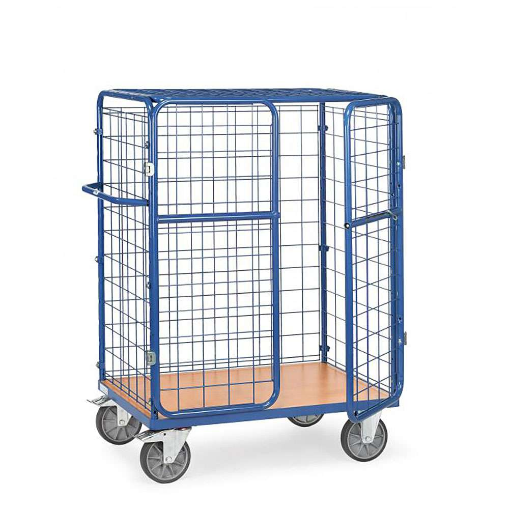 Package car - with wire mesh panels, door and roof - 600 kg - Height 1500 mm