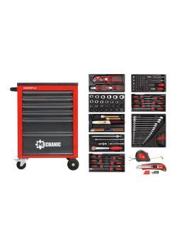 Zestaw narzędzi czerwony GEDORE w wózku warsztatowym MECHANIK - blacha stalowa - 119 sztuk