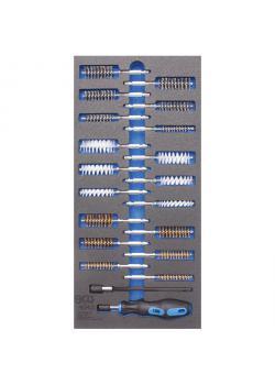 Werkstattwageneinlage - Bürsten-Sortiment - 1/3 Schubladengröße - 20-tlg.