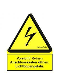 """Segnale di pericolo - """"Attenzione aperto nessun box di connessione!"""" - 123 x 100 mm"""