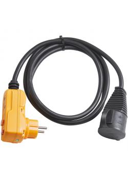 Schutzadapterleitung FI IP 44 - 2 m Kabel - Gummi-Neopren - schwarz