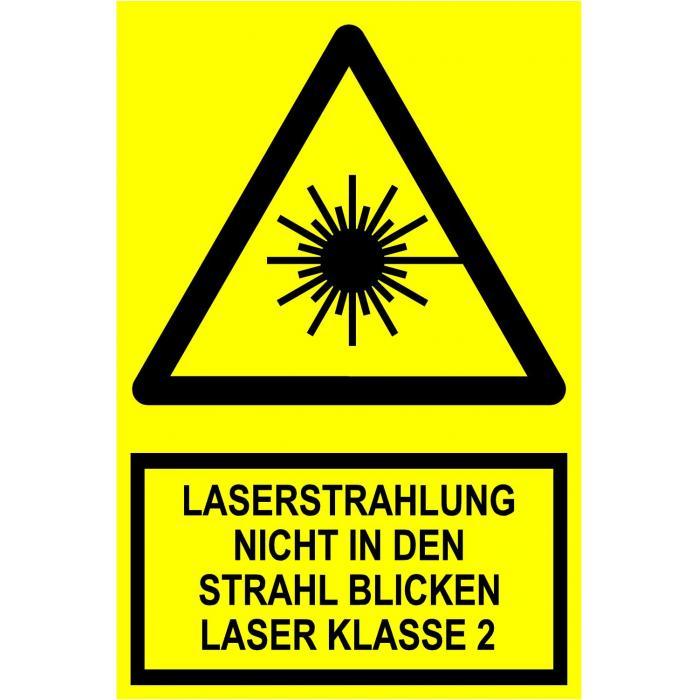 """Warnschild - """"Laserstra. nicht in den Strahl blicken Laser Klasse II"""""""