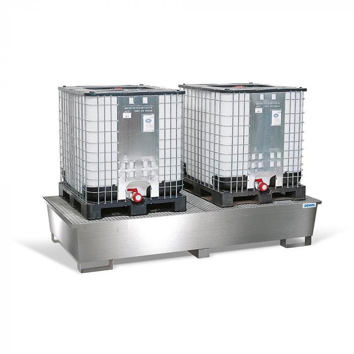 Auffangwanne pro-line - Edelstahl - für 2 IBC á 1000 l - mit Gitterrost Edelstahl oder verzinkt