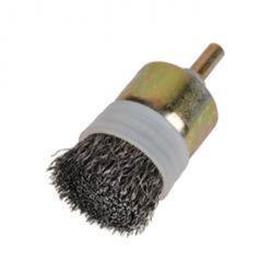Ändborste - med skaft - borst-Ø 13 mm - vågig ståltråd - med stödring