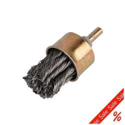 Ändborste - med skaft - borst-Ø 25 mm - virad ståltråd