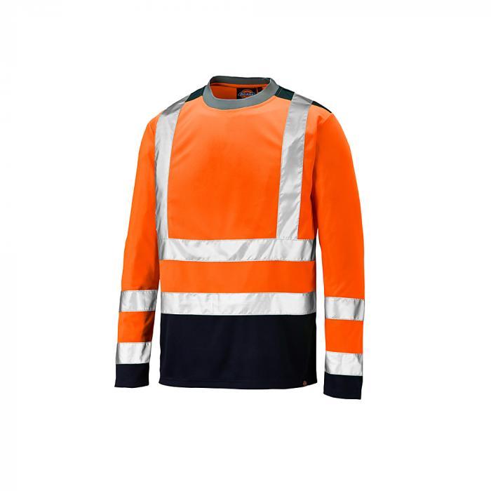 Varningsskydd långärmad skjorta - Dickies - tvåfärgad - mycket synlig - storlek S till 4XL - orange / marinblå