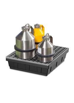 Kleingebindewanne EURO-P 15 - Polyethylen (PE) - mit Stahl-Gitterrost - 15 Liter Auffangvolumen