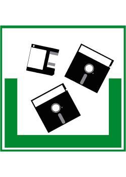 "Miljöskylt ""disketter"" - sidolängd 5-40 cm"