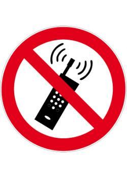 """Förbudsskylt """"mobitelefonbruk förbjudet"""" - Ø 5-40 cm"""