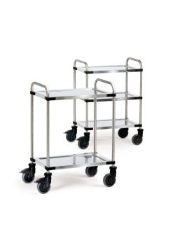 Stainless steel trolley - with tubular push handle - loading area 630 x 400 mm